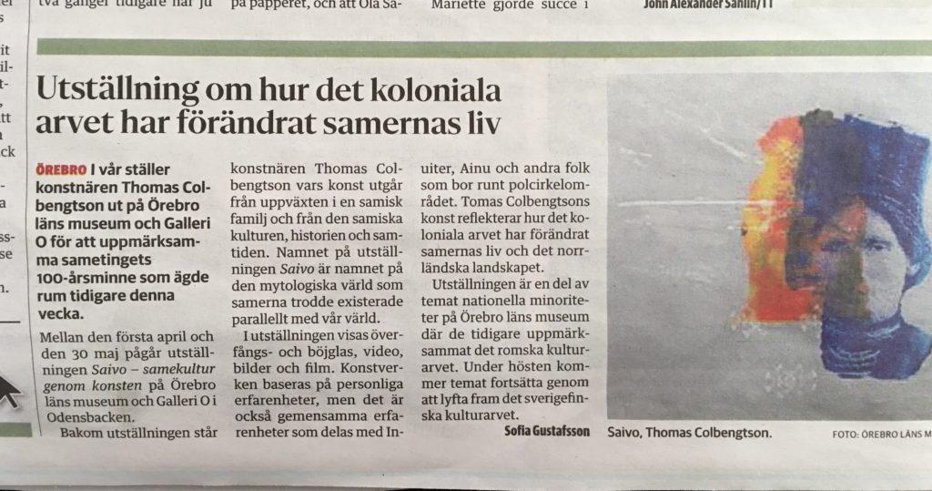 """Vår nästa stora utställning """"SAIVO"""" Som Galleri O gör tillsammans med Örebro läns museum Vernissage den 1 april"""